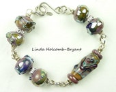 Tan Metallic Lampwork Beaded Bracelet