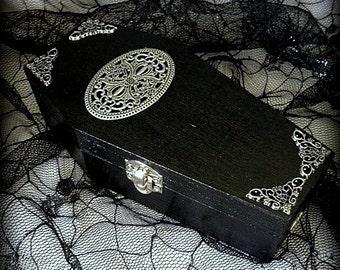 Black Victorian Filigree Gothic Vampire Wood Coffin