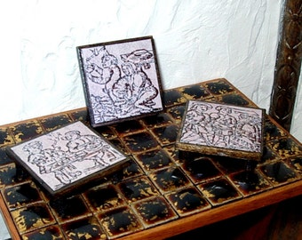 Medieval Woodcut Trivets, Dollhouse Miniatures 1/12 Scale, Hand Made