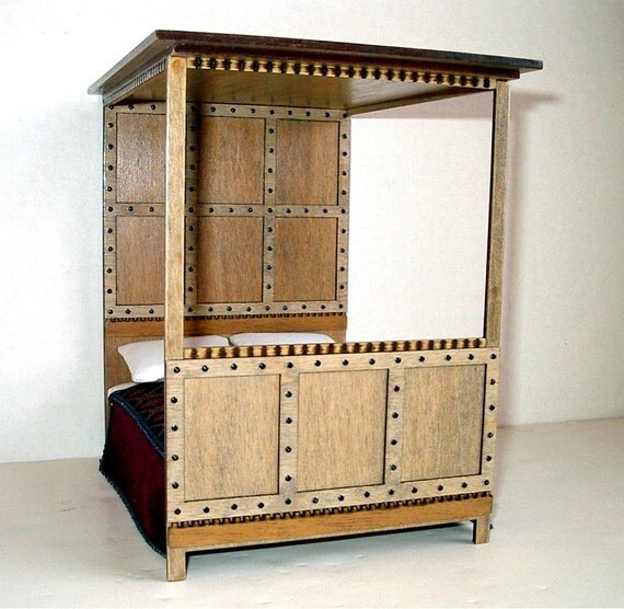Medieval Canopy Bed Rustic Dollhouse Miniature 1/12 Scale