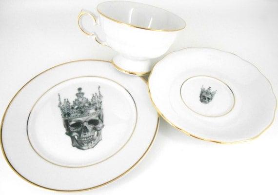 Skull Trio - Skull Tea Cup Skull Dessert Plate Skull Saucer. Goth Ste&unk & Skull Trio - Skull Tea Cup Skull Dessert Plate Skull Goth