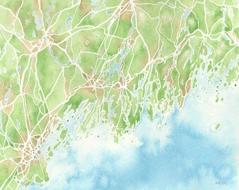 Maine Coastal map 5x7, 8x10, 11x14, 12x16 print watercolor map