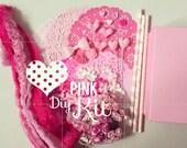 Diy Pink kit for valentine scrapbook or handmade