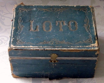 French vintage loto box with cards and numbers