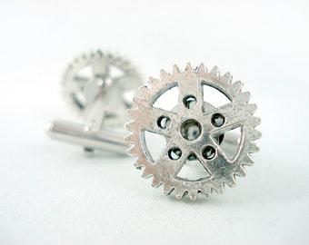 Silver Gears - Steampunk Cufflinks Wedding Groom Groomsmen