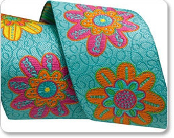 FLOWERS ON TURQUOISE- Per Yard