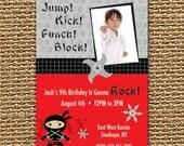 Karate Birthday, NinJa Invitation, Karate Invitation, Photo Karate Invite, Photo Invitation, Custom Photo Card, Printable Invitation