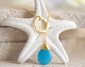Teal Stone Teardrop and Gold Circle Lariat Necklace.  Lariat Necklace. Gift for Her. Gemstone Lariat. Pendant Necklace. Gold Jewelry.