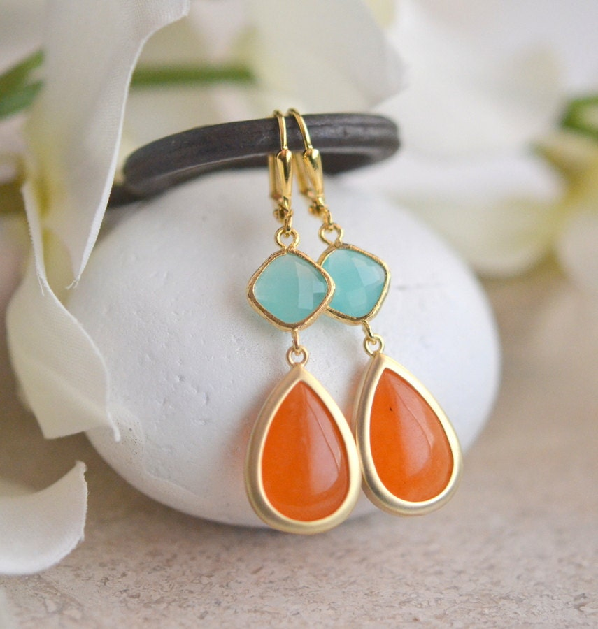 orange and turquoise dangle earrings summer earrings. Black Bedroom Furniture Sets. Home Design Ideas