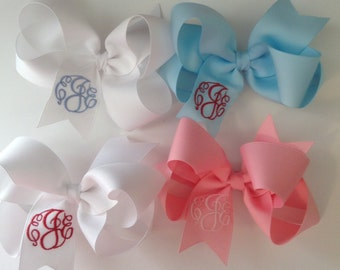 Monogrammed Hair Bow for Special Occasions and Great for Flower Girls