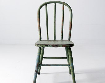 antique wood children's chair, wooden farmhouse chair