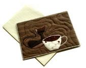 Handmade art card, Coffee Cat, Fiber Art Card, for cat lovers, brown black white, home decor, coffee lovers postcard, black cat
