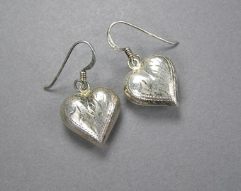 Sterling Puffy Heart Engraved Mexican Earrings, Vintage Jewelry