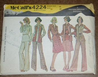 Vintage McCall's Pattern 4224, Misses' Blouse, Vest, Skirt & Pants,  Size 16, 1970's