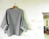 Last One - Grey Loose Tunic with Woven Dot Pattern.  Lightweight Pure Wool - Mid Grey - Raglan Wide Sleeves.