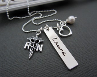 Nurse Jewelry, Nurse Necklace, NURSE RN, Registered Nurse, Nurses, Sterling Silver RN Necklaces, Personalized Nurse Jewelry, Graduation Gift