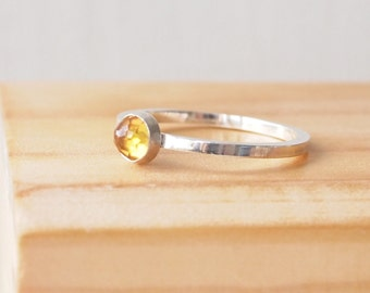 Citrine Ring in Sterling Silver - Citrine Yellow Ring - November Birthstone Jewelry - Stacking Birthstone Ring - Stacking Gemstone Ring.