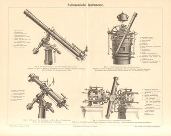 1890 Antique Engraving of Astronomical Instruments, Meridian Circle, Refractor, Heliometer, Altazimuth Mount