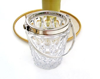 Vintage Ice Bucket Barware Italian Towle Silver & Crystal Glass Champagne Wine Chiller Wedding Gift