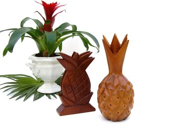Vintage Wood Pineapples Carved Monkeypod Tropical Wooden Set of 2 Pineapple Napkin Holder Toothpick Appetizer