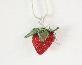 Strawberry necklace berry red leaf green Strawberry Pendant summer fruit fake food jewelry for her sterling silver embroidered