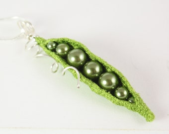 Pea Pod necklace Sweet peas in a pod green Pendant with sterling silver gift for her embroidered Necklace glass Pearl textile Ready to Ship