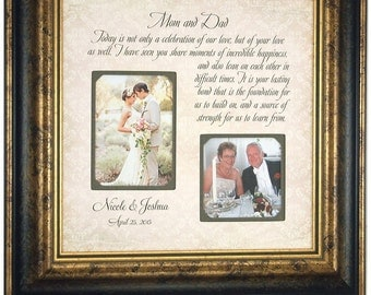 Wedding Frame Gift to Parents Bride Groom MOM DAD, Father of The Bride, Mother of The Bride, Personalized Picture Frames framing 16 X 16