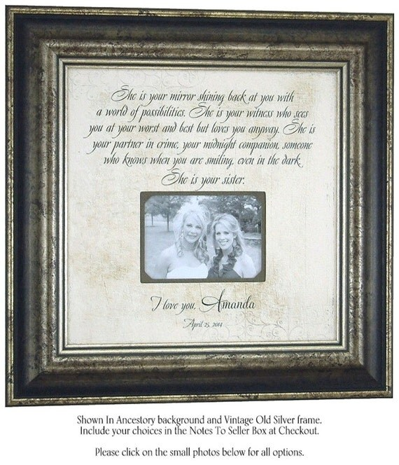 Wedding Gift For Sisters, Personalized Sister Gift