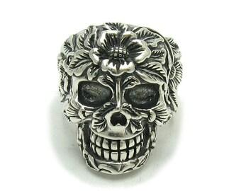 R001441 Sterling Silver Ring Solid 925 Skull Flower