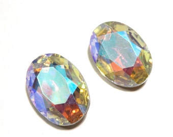Vintage 25x18mm Czech Aurora Borialis Clear Crystal AB Oval Faceted Gold Foiled Pointed Back Glass Jewel (1 piece)
