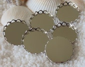 Brass Lace Edge Cabochon Settings - Platinum Plated Round - 18mm - 12, 24 or 36 pcs