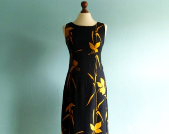 Vintage maxi dress black yellow floral / sleeveless / tube pencil wiggle fitted dress / long / medium small