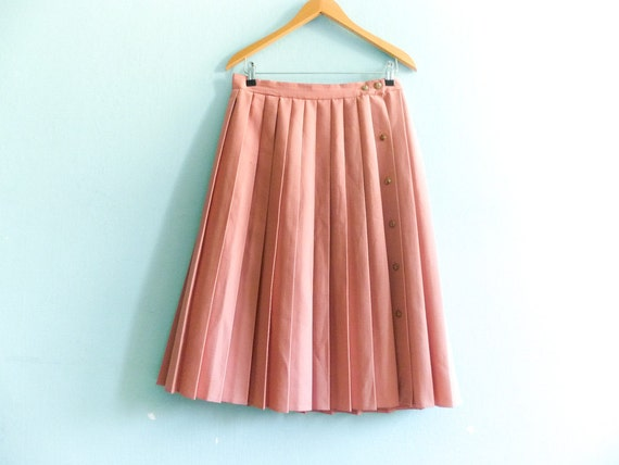 vintage pleated skirt pink pale pastel blush high by