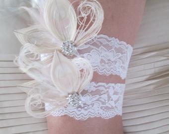 Peacock Wedding Garters, Ivory Lace Garter, Rustic Garter, Vintage Bridal Garters w/ Rhinestone & Feathers, Gatsby Bride