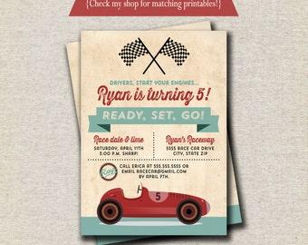 Retro Race Car Invitation | Vintage Race Car Invite | Race Car Birthday Party Printables | digital printable