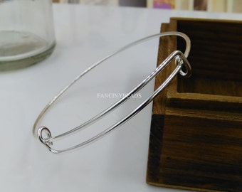 Wholesale-Stainless Steel 100 pcs fabulous adjustable  basic bangles wired bracelet findings-F1374-free shipping