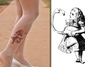 Alice in  WONDERLAND /  Tattoo tights  - size  - S / M / L / XL   full length Nude pantyhose
