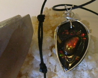 Bright Red, Green and Gold Gem Ammolite From Utah Deposit, Fishing Fly Mens Cord Necklace Wire Wrapped w/Argentium Silver 493