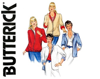 1980s Jackets Pattern Uncut Butterick 4297 Zip Front Reversible Fall Jackets Blazer Windbreaker Windcheater Womens Vintage Sewing Patterns
