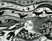 Art Print Shamanka's Dream from Scraperboard Original