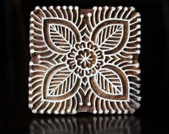 Pottery Stamps, Indian Wood Stamp, Textile Stamp, Wood Blocks, Tjaps, Printing Stamp- Square Floral