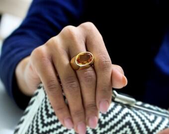 citrine ring,November birthstone,thick citrine stone ring,gemstone ring,gold ring,gold wide ring,gold thick rings