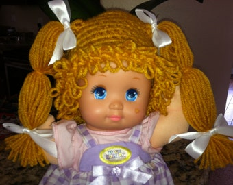 Cabbage Patch Kid Style Crocheted Gold Wig Hat Halloween Costume for Baby Girls Size Newborn to 12 Months