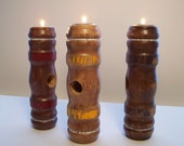 Candle Holders, Rustic Tea Light Candle Holders, Unique Set of Three Wood Candle Holders