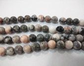 "Pink Zebra Stones 6mm-12mm Round  Semiprecious Gemstone 15""L Bead Genuine Natural"