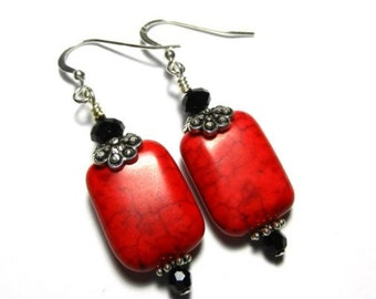 Red Magnesite Earrings With Black Swarovski Crystals