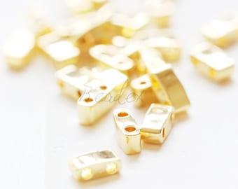 10 Grams / Japanese Miyuki Tila Half Cut Beads / Seed Beads / Two Holes / Gold Opaque (HTL191-M353))