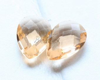 2 Pieces / Hand Cutted Teardrop / No Hole / Crystal Glass / Champagne 14.15x10.10mm (3005C-S-179)