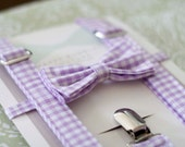 Easter Purple Gingham Bow Tie and Suspender Set