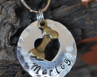 Dog Tag/Tags / Pet ID Tag / Dog Collar Tag / Personalized / Pet Charm / Keychain / Unique Hand Stamped / Dog Bone